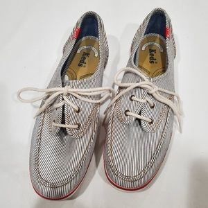 KEDS lace up loafers/boat shoes navy/white stripe